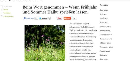 Heimische Wildpflanzen - Darauf ein Haiku!